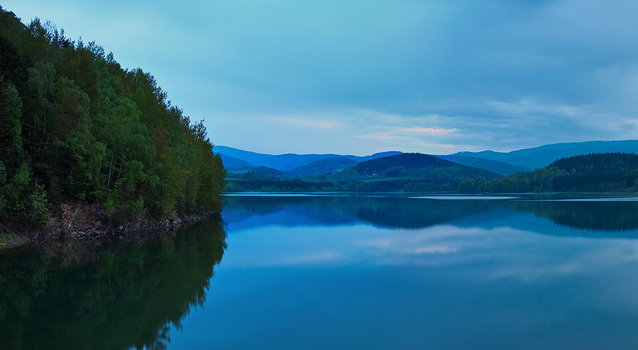 Blue dusk over Nyrsko lake