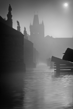 Mist over river can make this place with Charles bridge even more mysterious