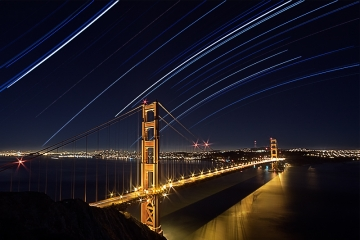 Stars moving over Golden Bridge