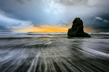 Stormy beach sunset I.